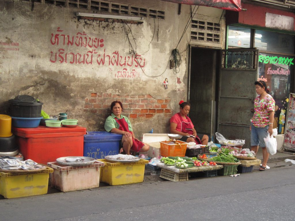 a market side street in Thailand